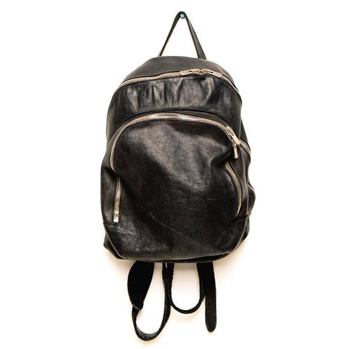 Black Small Two Zip Backpack
