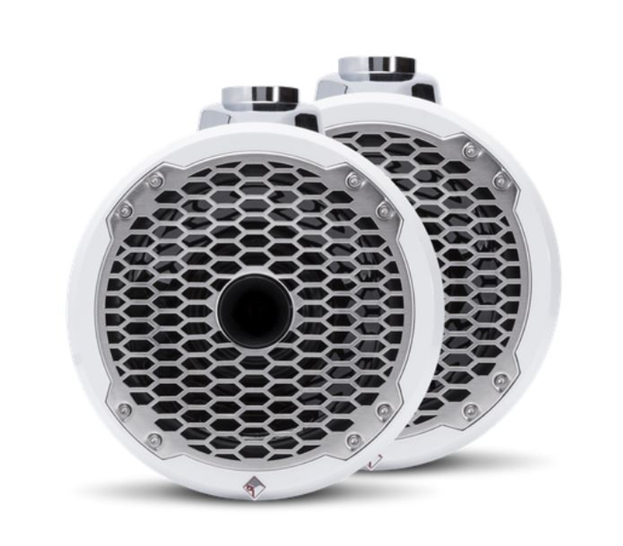 """The PM282HW is a Punch 8"""" 2-way wakeboard tower speaker enclosure featuring a high output horn tweeter and marine grade weather proofing technologies. Supplied in all white with a stainless steel sport grille."""