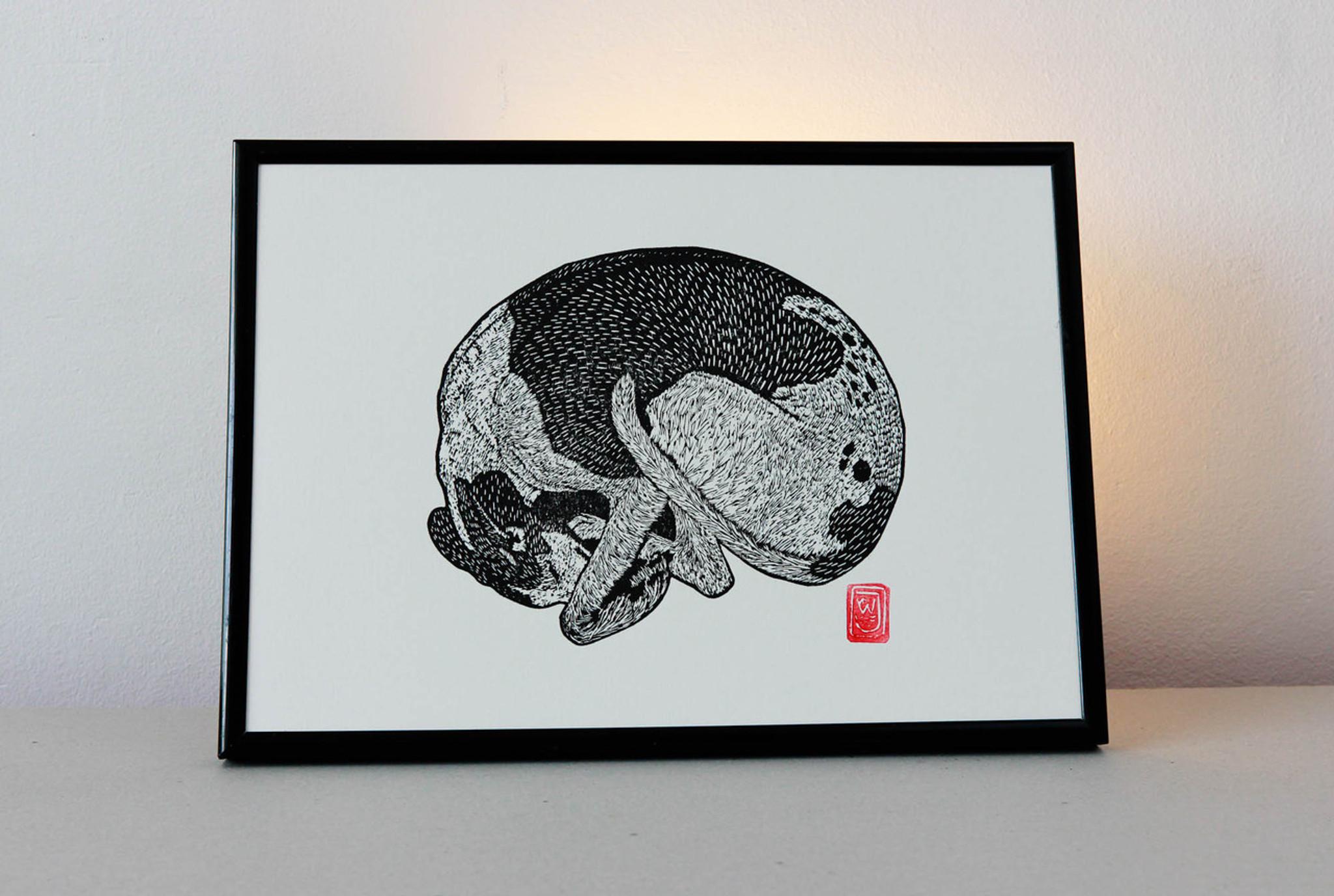 Sleeping Greyhound Lino Print