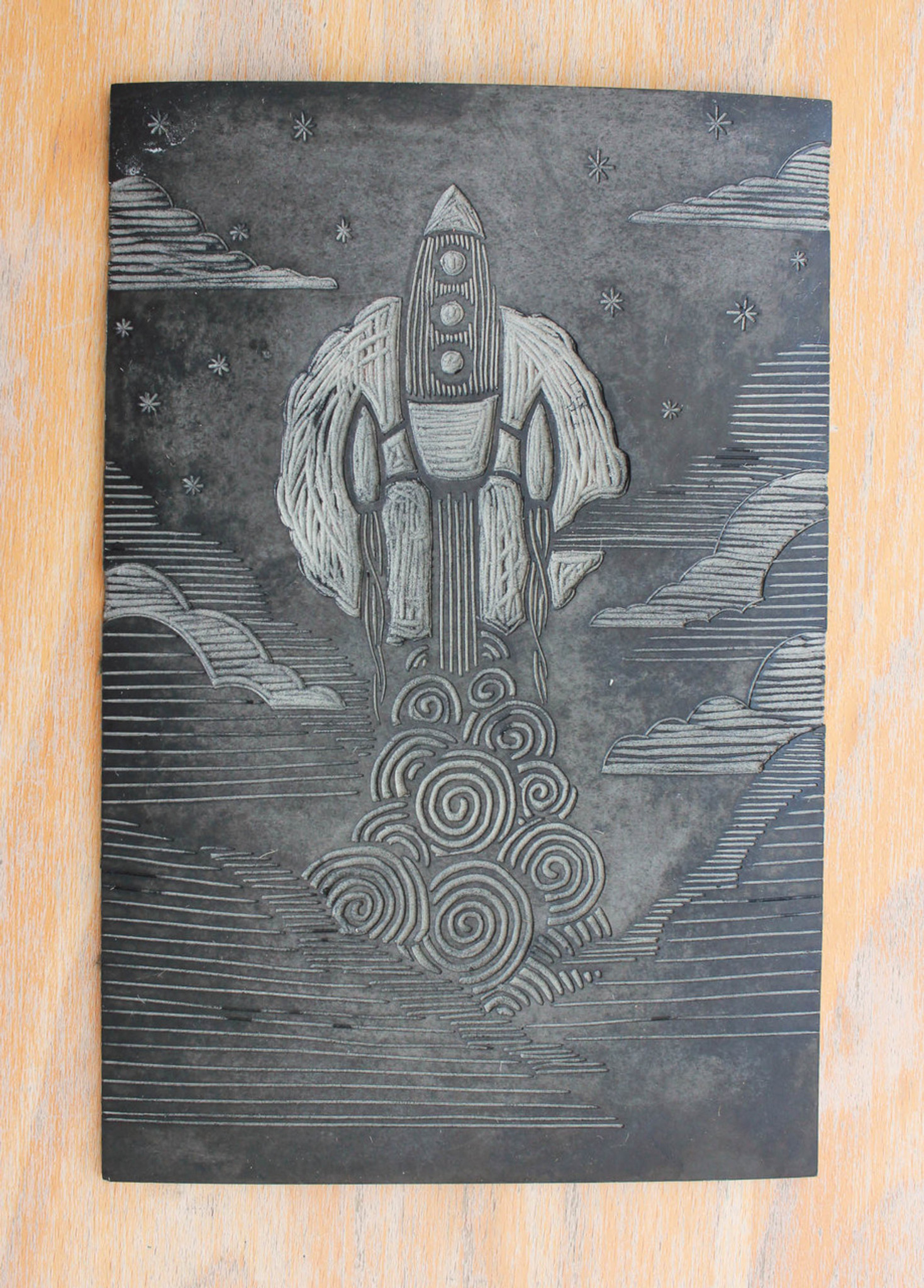 Rocket Lino Print