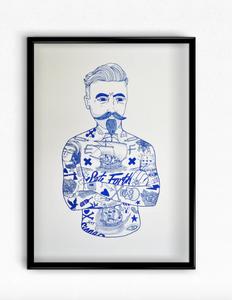 El Famoso Print - Blue Tat Man