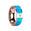 Gaius 14k Rose Gold Wedding Band with Blue Opal Inlay & White Diamond