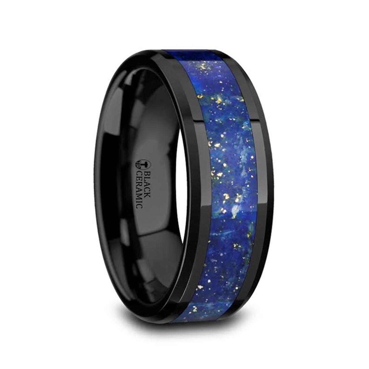 Argeius Men S Black Ceramic Wedding Band With Blue Lapis Inlay