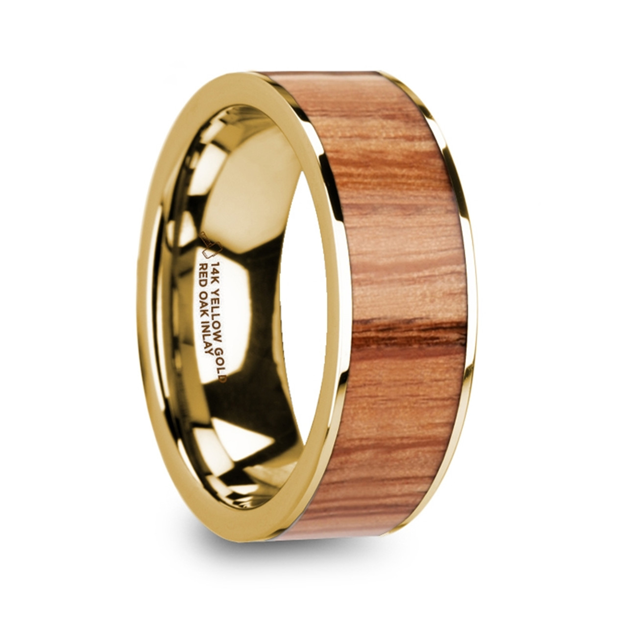 Antikles 14k Yellow Gold Men S Wedding Band With Red Oak Wood Inlay