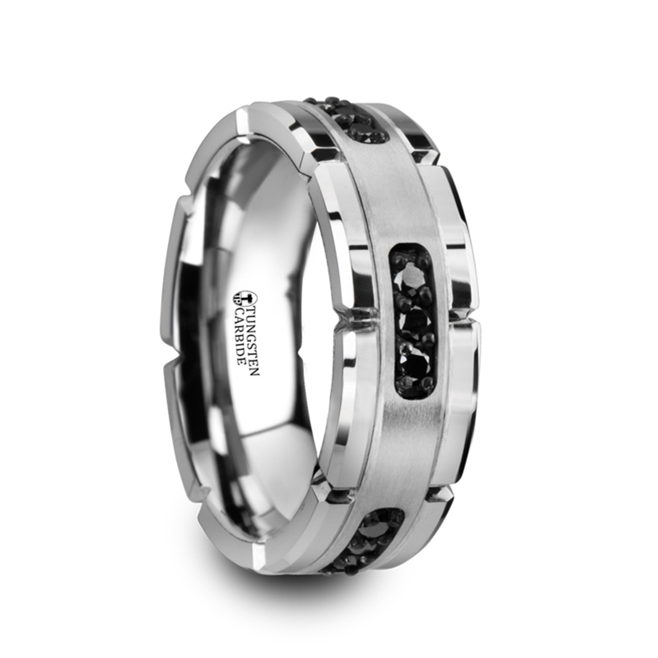 9mm Wedding Band 1 4 Ct Tw Black Diamonds Stainless Steel: Marcian Grooved Tungsten Men's Wedding Band With Silver