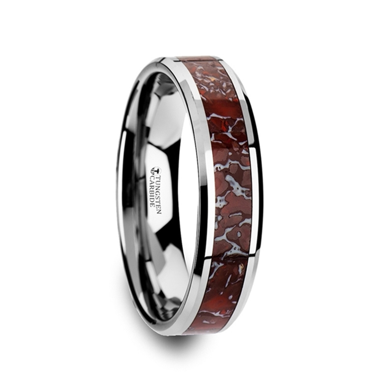 tungsten carbide rings inlay dinosaur dyscinitus band red wedding with bone