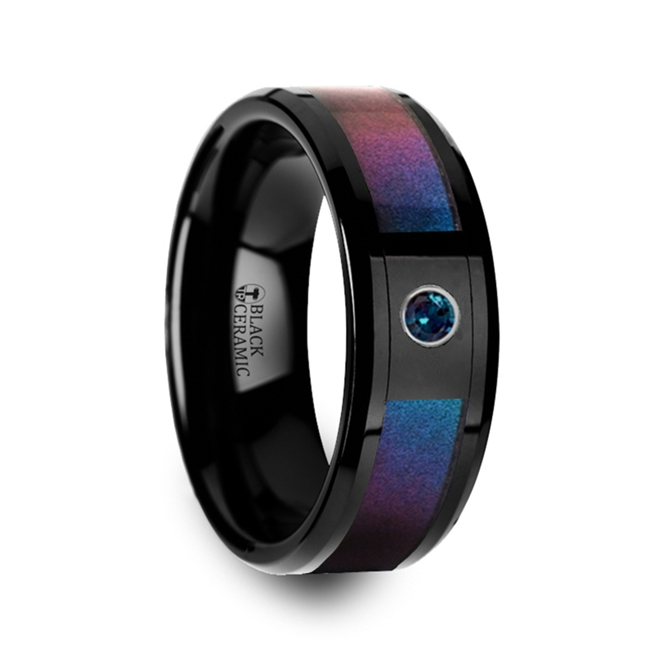 Pythodelos Black Ceramic Men S Wedding Band With Blue Purple Color Changing Inlay And Alexandrite