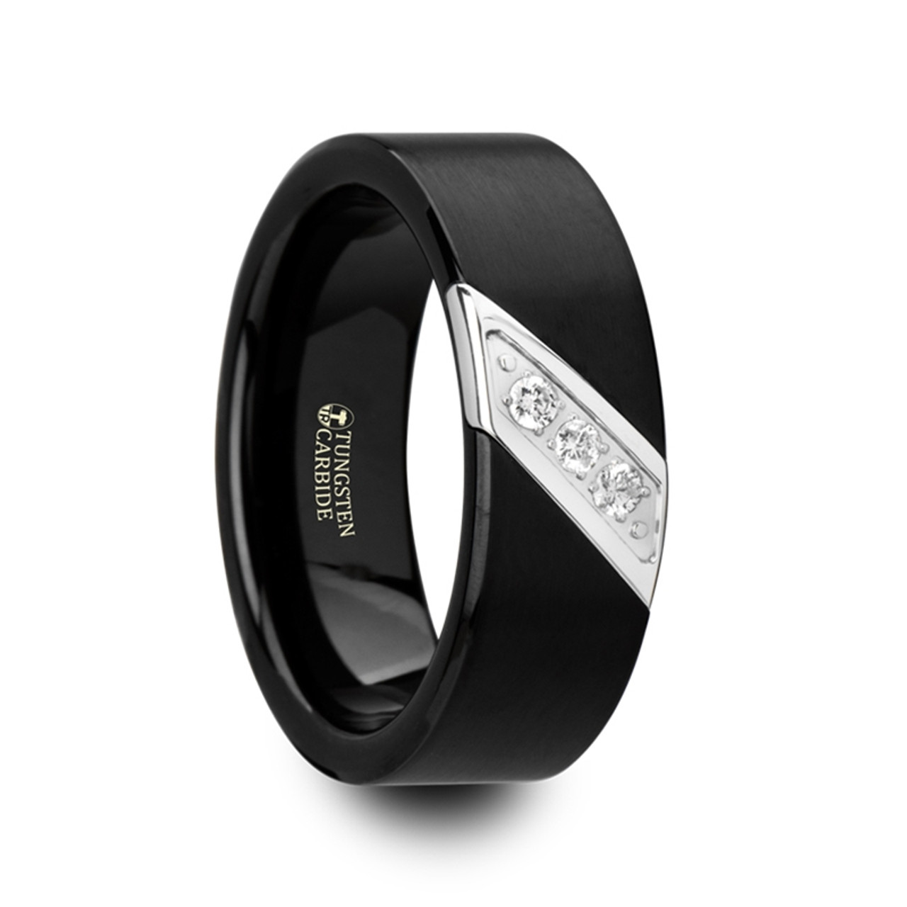 Hippias Black Satin Finished Tungsten Carbide Men S Wedding Band With Diagonal Diamonds Set In Stainless Steel