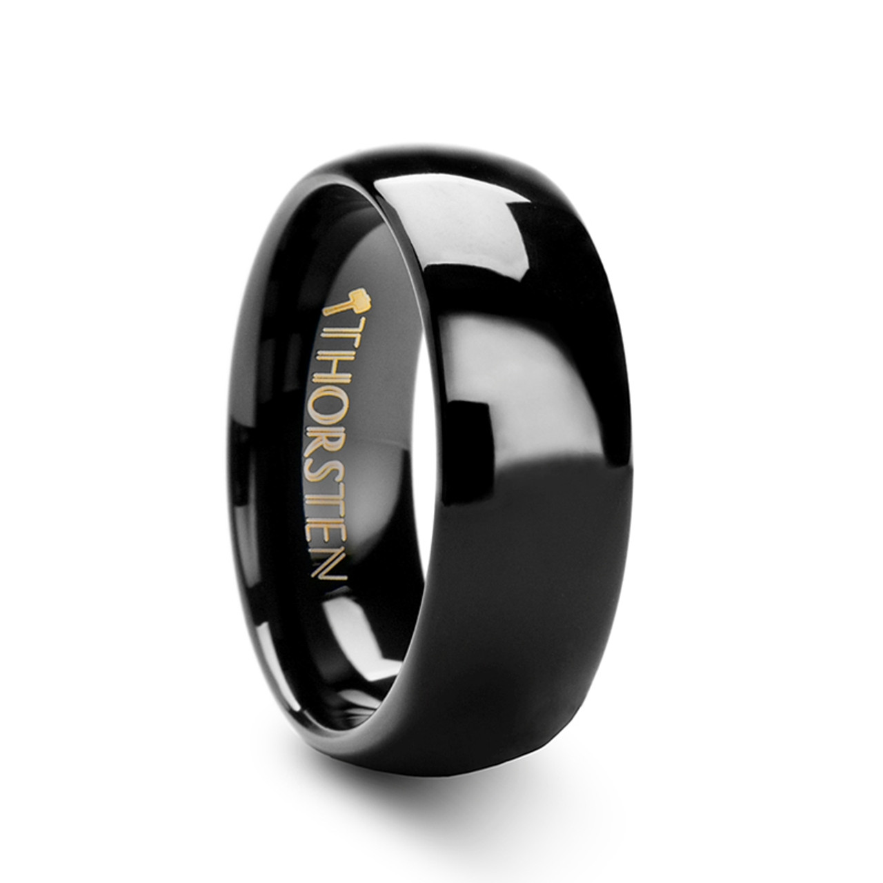 Mohan Rounded Black Tungsten Carbide Wedding Band