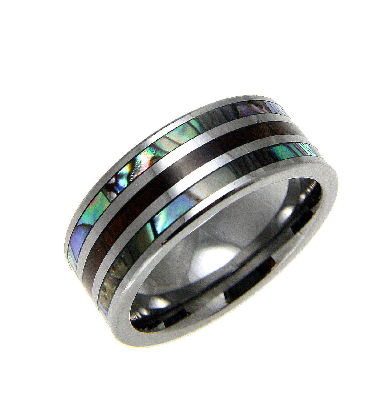 ring little s abalone band koa mens bands tungsten wood shell men inlay with