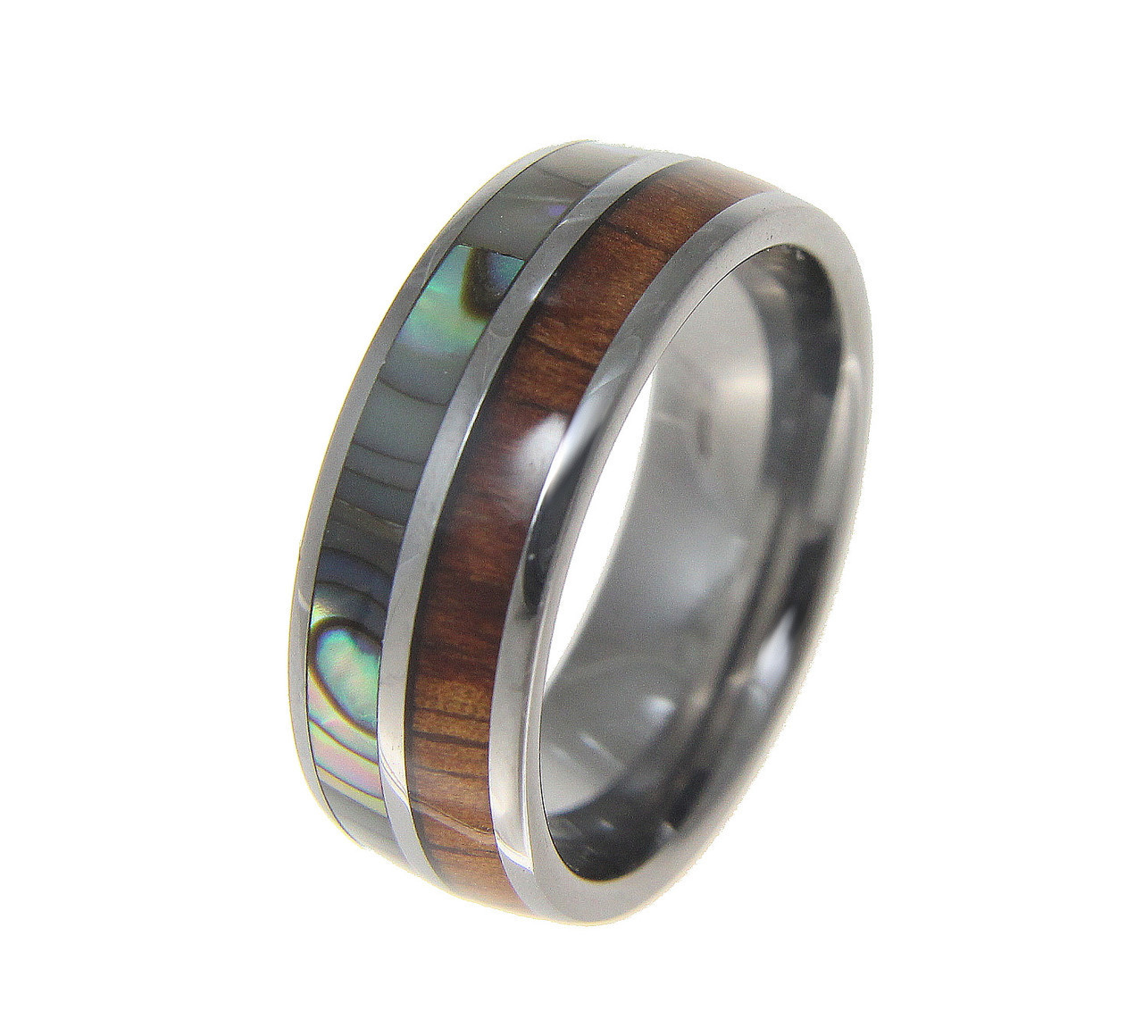 Menu0027s Tungsten Wedding Band With Hawaiian Koa Wood U0026 Abalone Shell Inlay
