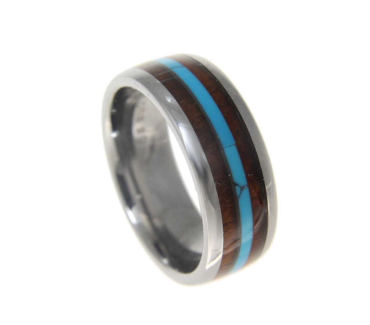 Hawaiian Koa Wood Inlaid Menu0027s Tungsten Wedding Band With Turquoise Center
