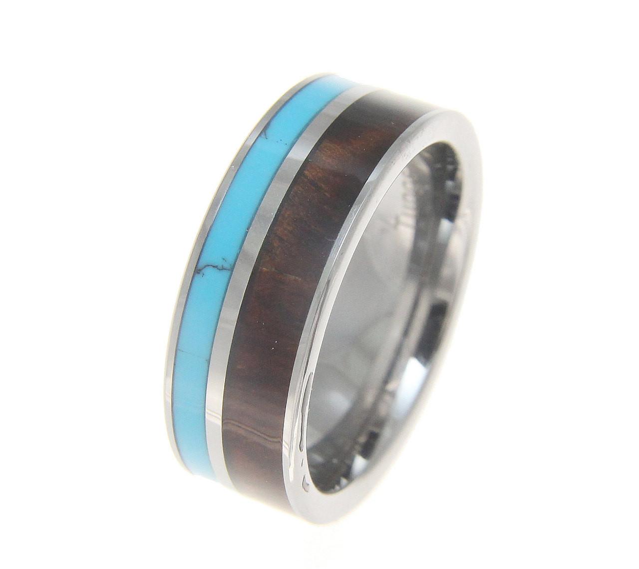 Menu0027s Tungsten Wedding Band With Turquoise U0026 Koa Wood Inlay
