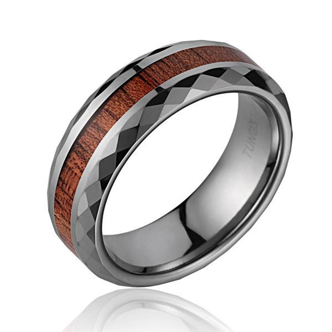 Diamond Faceted Men S Tungsten Wedding Band With Koa Wood Inlay