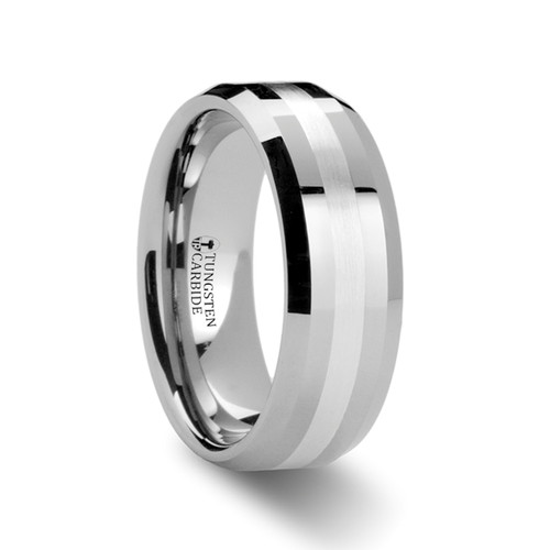 Sisenand Tungsten Carbide Wedding Band with Silver Inlay