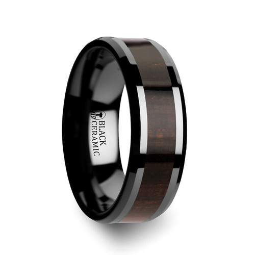Antiphon Black Ebony Wood Inlay Black Ceramic Men's Wedding Band