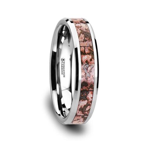 Ludeca Pink Dinosaur Bone Inlay Tungsten Carbide Wedding Band