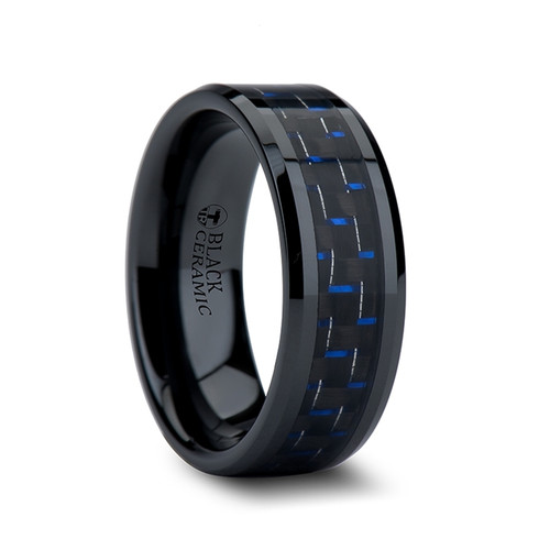 Glycerius Black Ceramic Wedding Band with Blue & Black Carbon Fiber Inlay