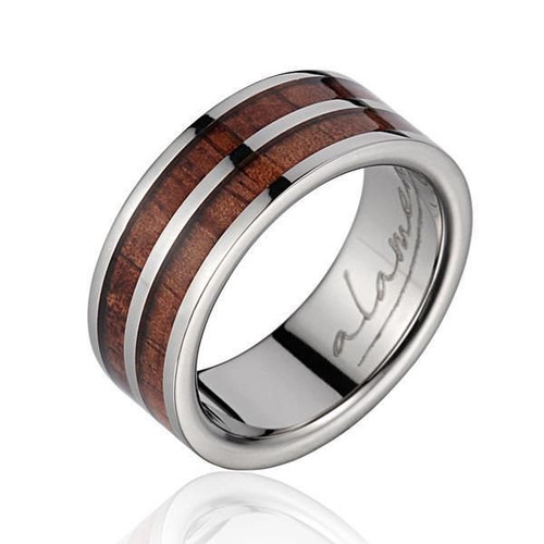 Hawaiian Koa Wood Inlaid Men's Titanium Wedding Ring