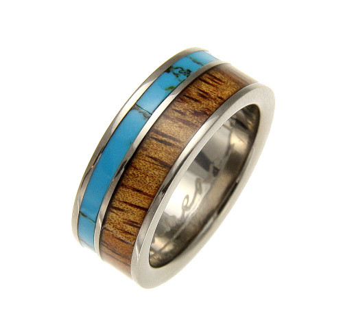 Turquoise Men's Titanium Wedding Band with Hawaiian Koa Wood Inlay