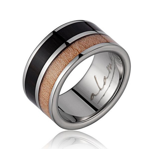 Men's Titanium Wedding Band with Macassar Ebony & Maple Wood Inlay