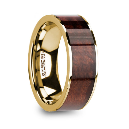 Phorbas Menu0027s 14k Yellow Gold Wedding Band With Red Wood ...