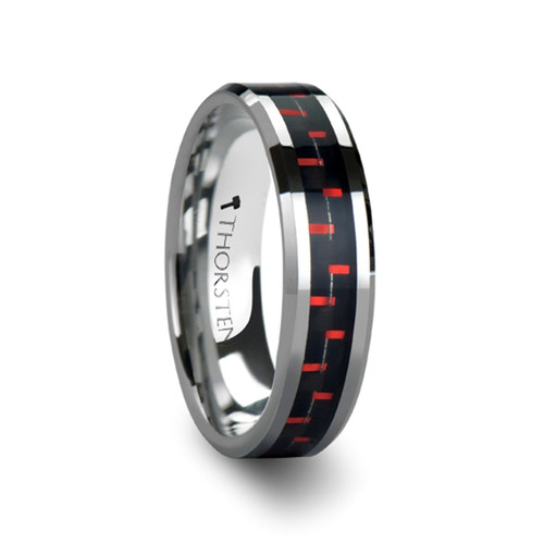 Alaric Tungsten Carbide Wedding Band With Black Red Carbon Fiber Inlay