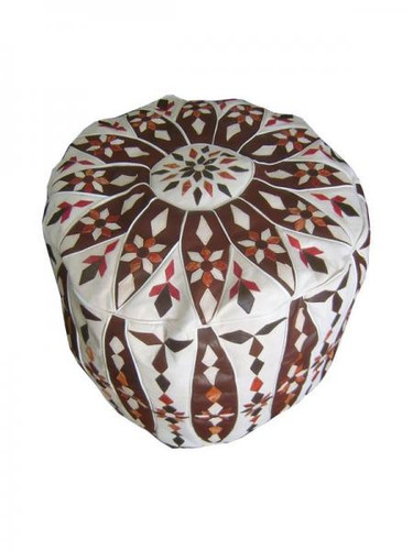 Moroccan Leather Pouf-Floral Design