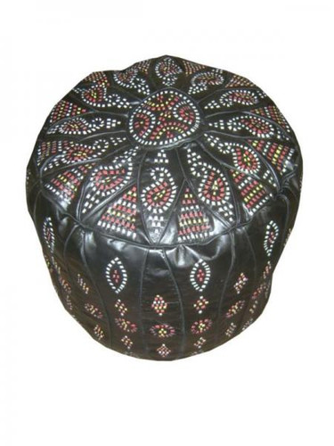 Black Moroccan Leather Pouf-Footstool