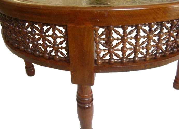 Beau Moroccan Brass Tray Table; Middle Eastern Moroccan Brass Tray Table ...