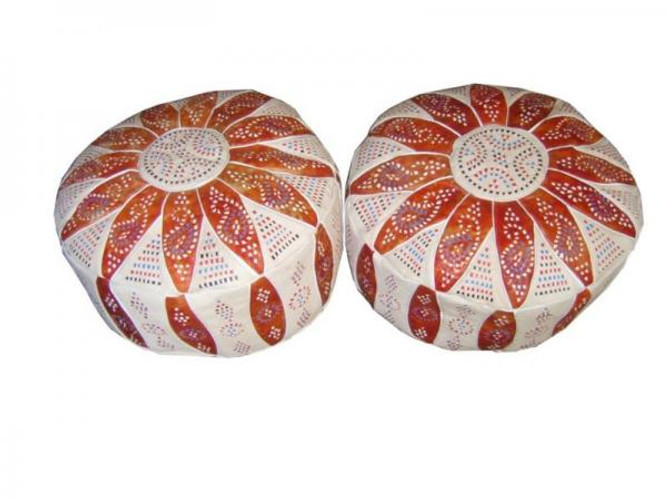 Moroccan Leather Poufs Footstools