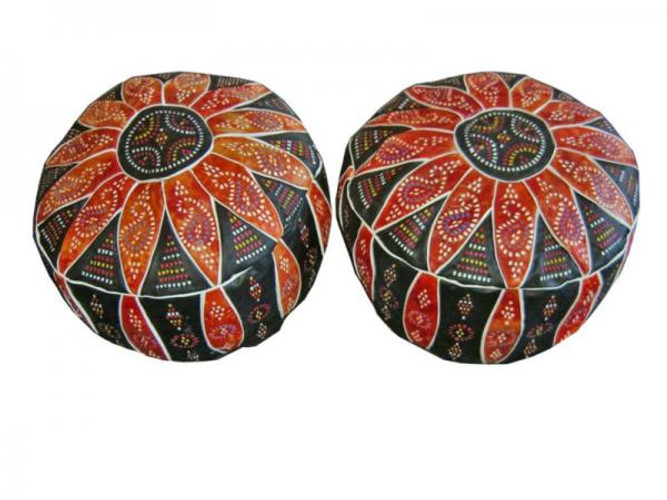 Moroccan Leather Poufs - Footstools