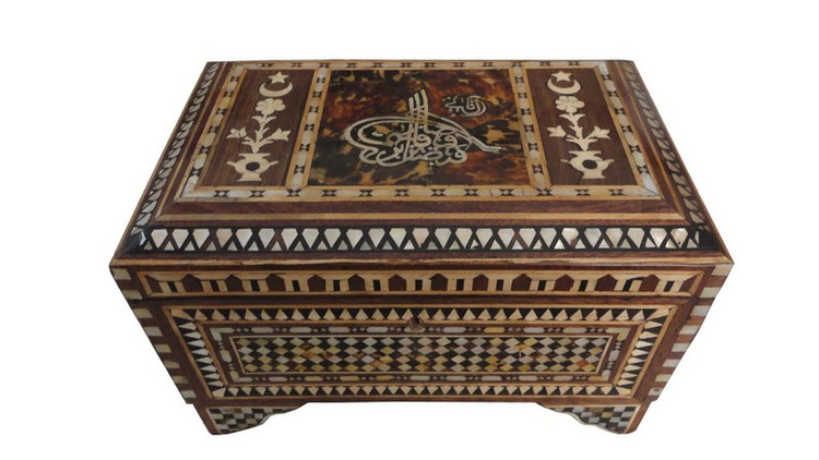 Turkish style Mother of Pearl Inlaid Wood Jewelry Box Chest