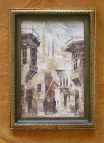 FRAMED Oil Painting of Street Mosque scene,Cairo-Egypt
