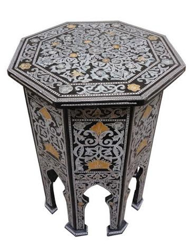 Persian Mother of Pearl Wood Coffee Side Table-Small