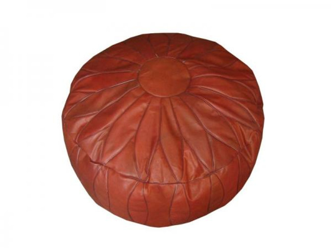 Moroccan Brown Leather Pouf Footstool