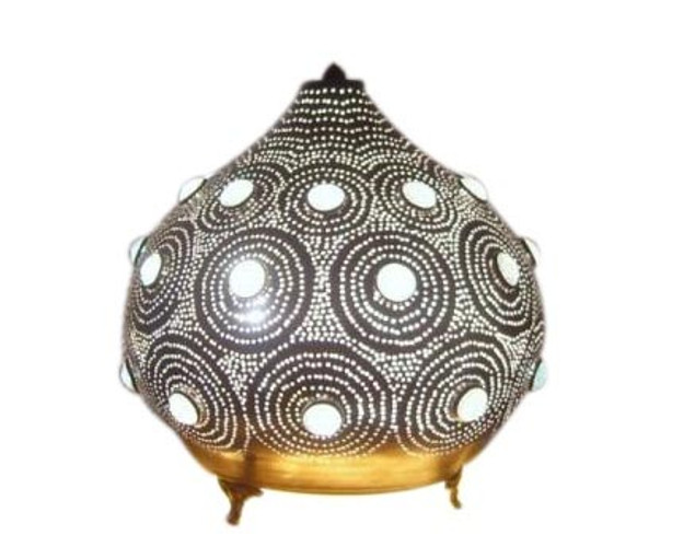 Jeweled Moroccan Table Lamp in Brass