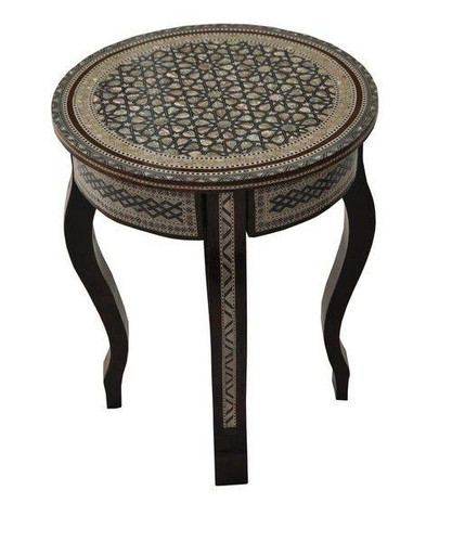 Egyptian Round Mother of Pearl Mosaic Wood Coffee Table