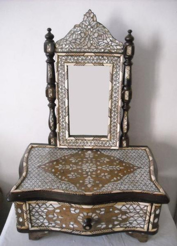 Antique Syrian Mother of Pearl Mosaic Wood Mirror Frame