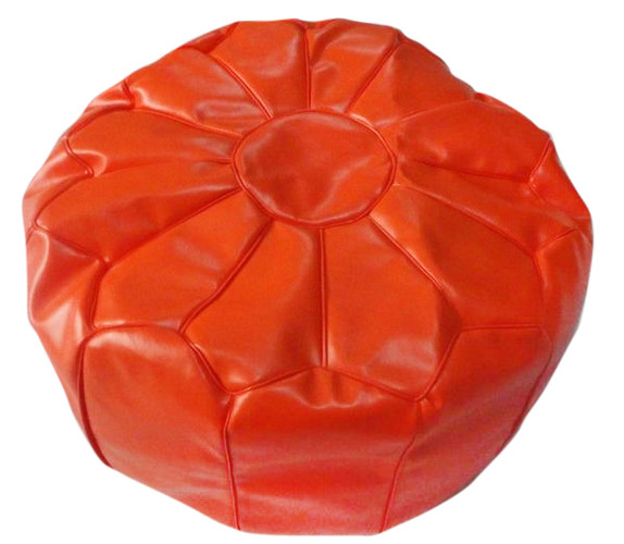 Moroccan Faux Leather Pouf