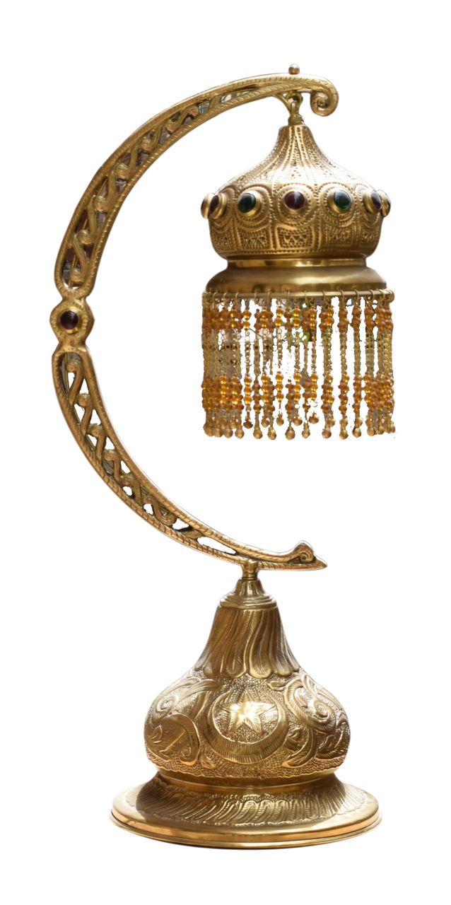 Brass table lamp brass table lamps moroccan lighting e kenoz half moon beaded brass table lamp greentooth Images
