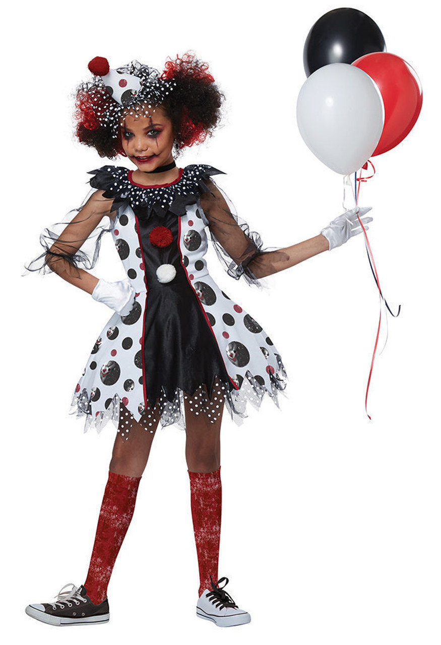 California Costumes Creepy Clown Red Balloon Child Girls Halloween Costume 00586  sc 1 st  Fearless Apparel & California Costumes Creepy Clown Red Balloon Child Girls Halloween ...