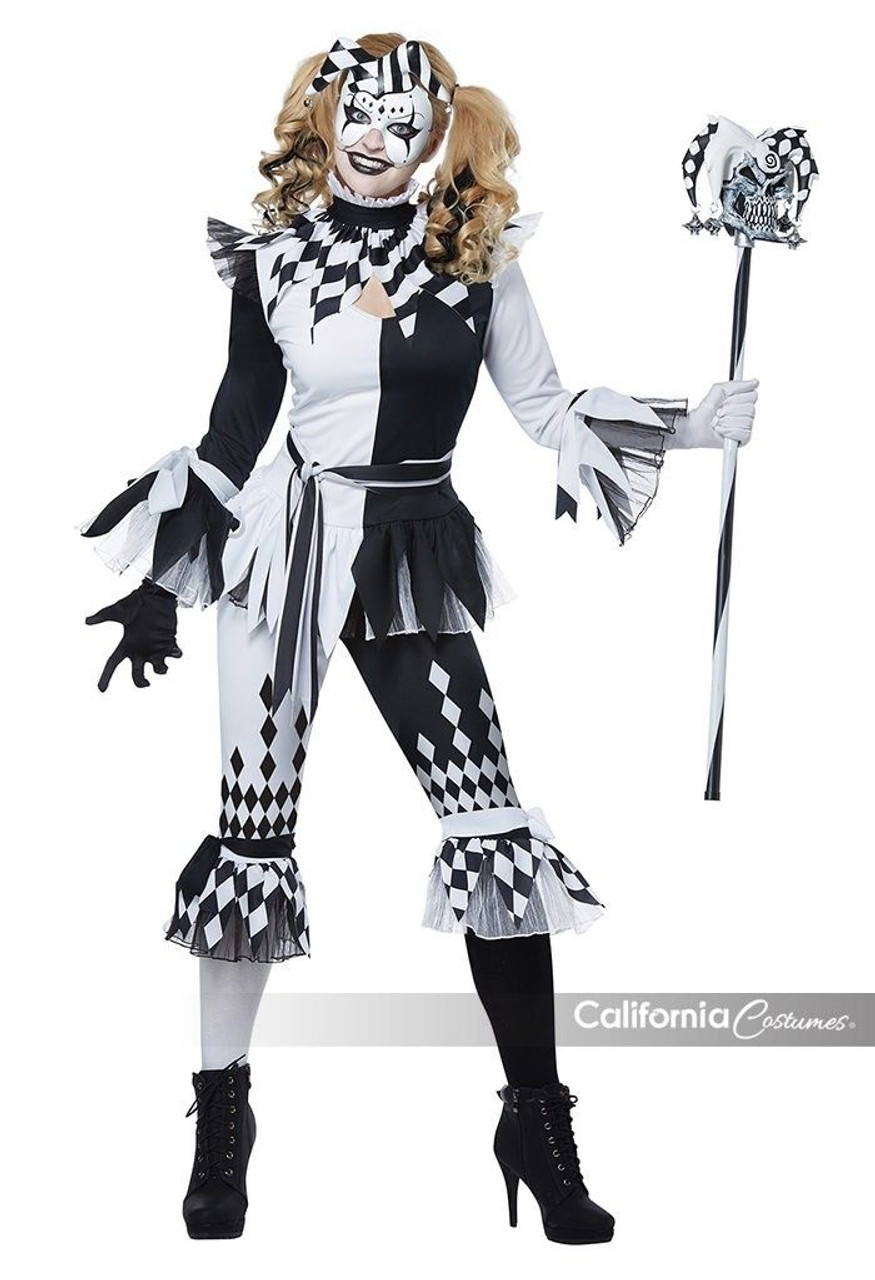california costumes crazy jester clown adult womens halloween costume 01476