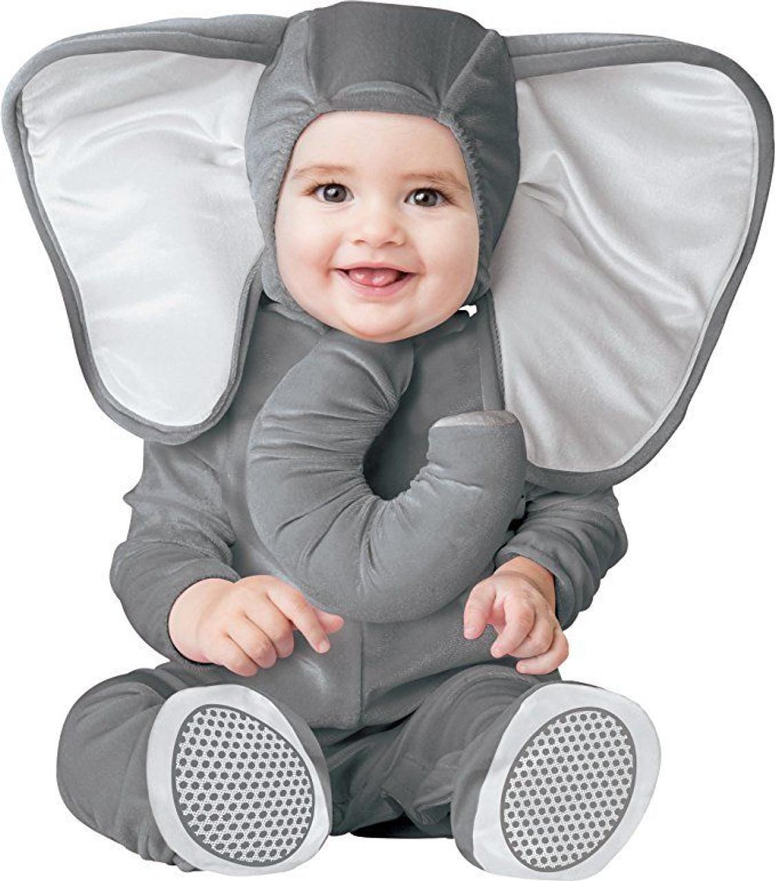 incharacter baby elephant animal zoo grey infant toddler halloween costume 16069