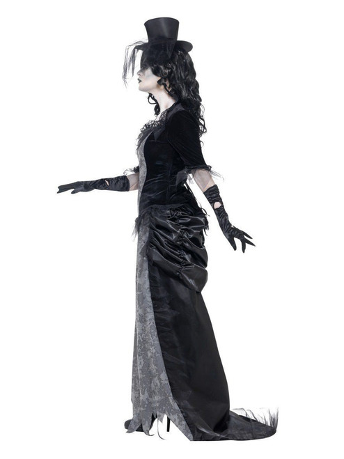 smiffys ghost town black widow gothic ghostly womens halloween costume 24575