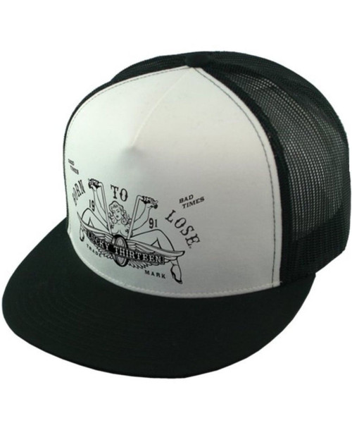 ab0c04ab6c9 Lucky 13 The Lucy Born to Lose Motorcycle Mesh Trucker Snapback Cap Hat  LCSB5LY