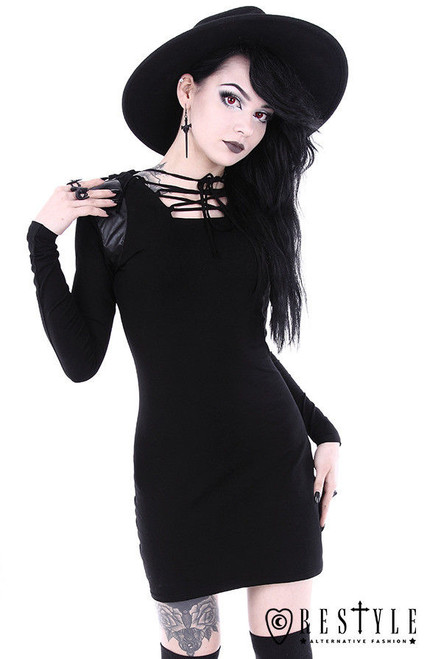 Restyle Armor Black Gothic Hooded Vegan Leather Punk Emo Adult Womens Dress