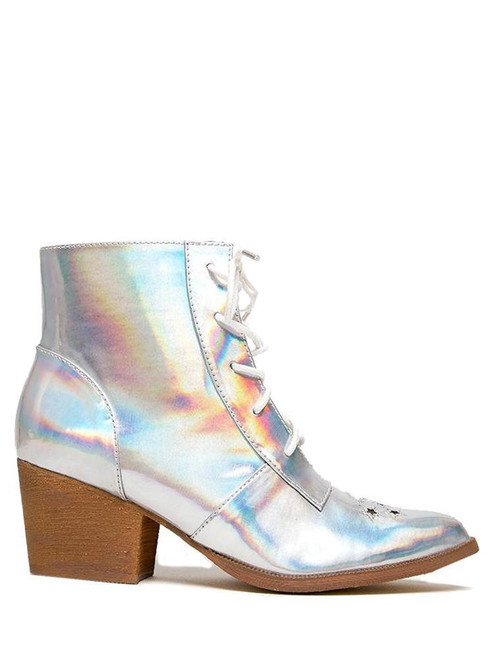 YRU Youth Rise Up Aura Silver Womens Witch Boots Shoes Stars Moon Goth Punk