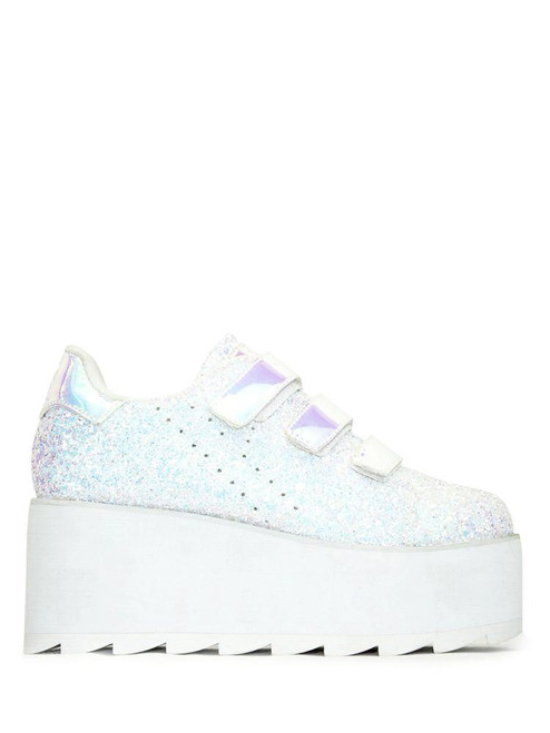 YRU Youth Rise Up Lala Velcro Glitter White Womens Platform Shoes Goth Punk