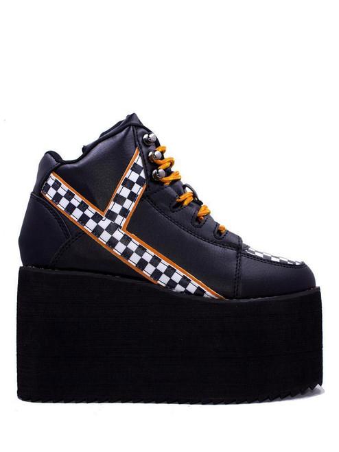 YRU Qozmo Checker Black & White Punk Emo Goth Rocker Adult Womens Platform Shoe